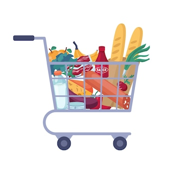 Full shopping cart with store groceries isolated trolley full of food.