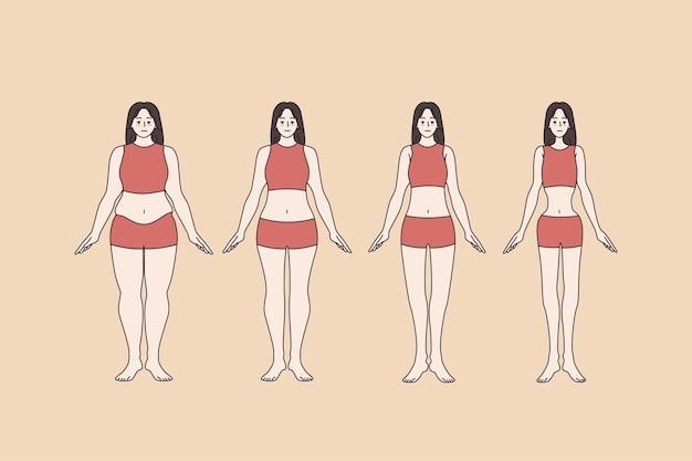 フルサイズの女性の体のサイズ変更ダイエット