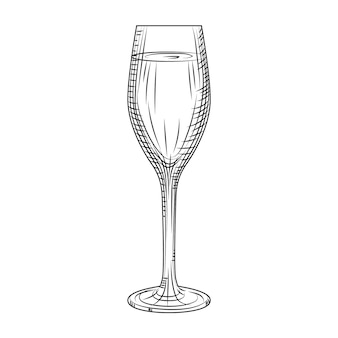 Полный бокал для игристого вина. ручной обращается эскиз бокал шампанского. стиль гравировки. векторные иллюстрации, изолированные на белом фоне.