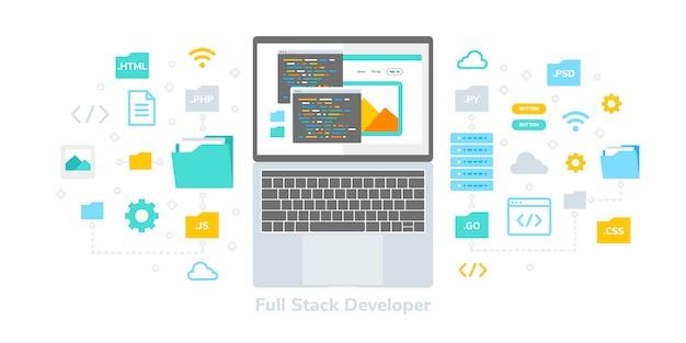 フルスタック開発者フラットイラスト、webバナー、インフォグラフィック、本、ソーシャルメディア、その他のグラフィックアセットに適しています