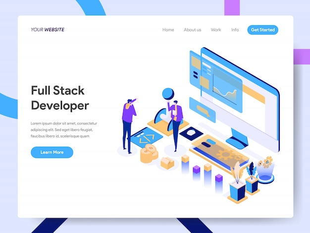 Full stack developer isometric illustration for website page