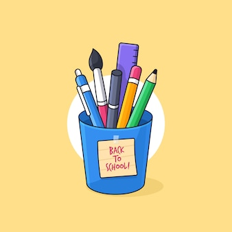 Full of student and creativity tools inside a cup with back to school sticky note illustration