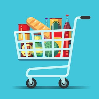 Full supermarket shopping cart. shop trolley with food. grocery store  icon