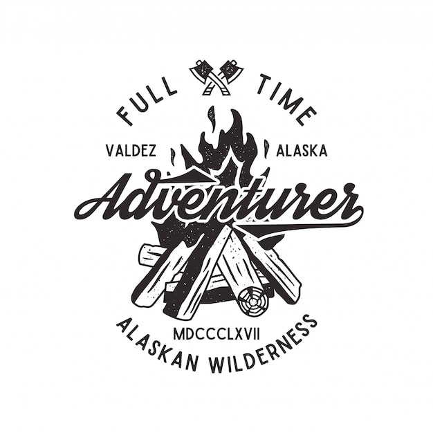 Full time adventurer vintage with textured bonfire, axe and type elements. alaska wilderness retro emblem. letterpress effect. isolated on white background.