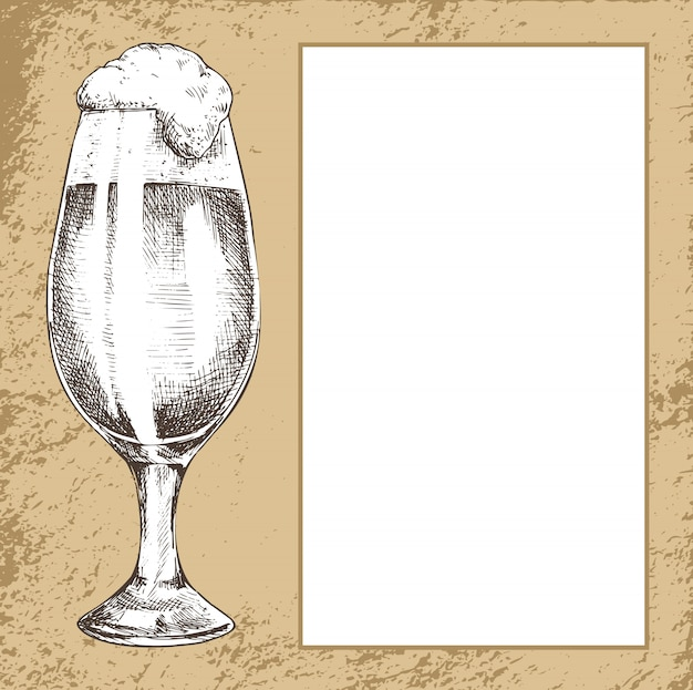 Full tulip beer glass with spilling foam poster