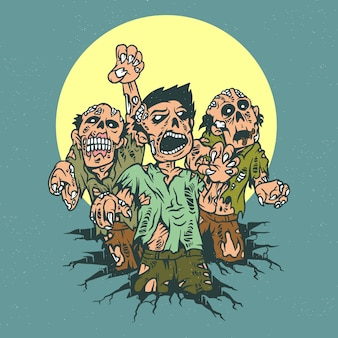 Full vector zombie cartoon cute scare out