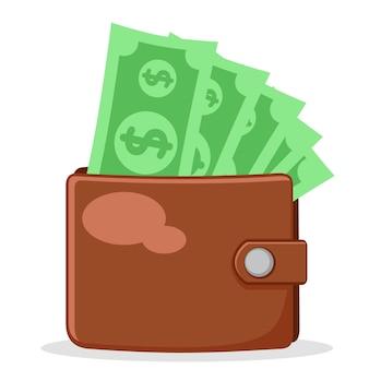 Full wallet of paper money on a white.