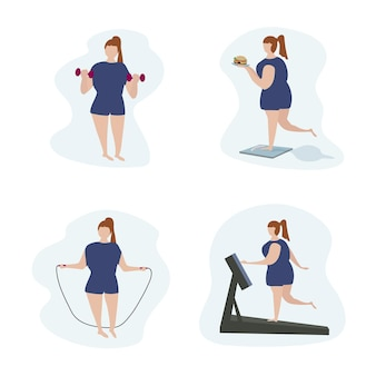 A full woman with excessive weight is active in sports. physical exercise and fitness for weight loss. positive body and a healthy lifestyle. vector flat