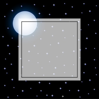 Fulll moon and starry night frame black background