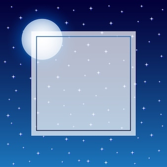 Fulll moon and starry night sky frame background