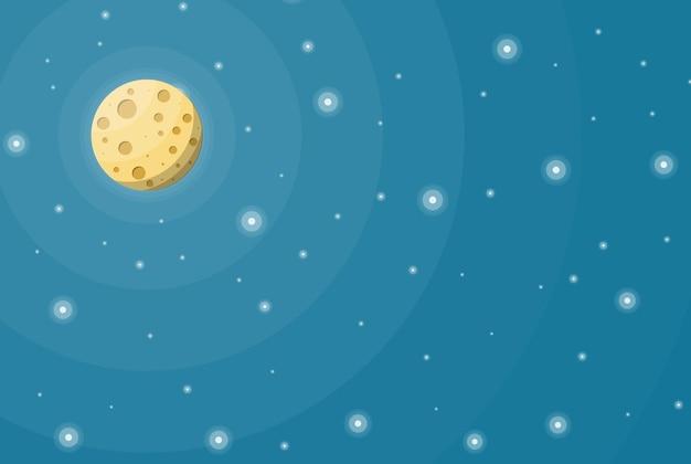 별이 있는 밤하늘의 보름달. 분화구와 지구의 달 위성입니다. 천문학, 과학, 자연. 우주 탐사. 평면 스타일의 벡터 일러스트 레이 션