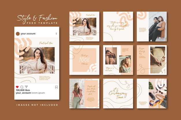 Fully editable instagram & facebook post. beige fashion sale social media puzzle feed template