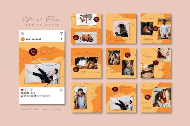 完全に編集可能なinstagramとfacebookの投稿。ブラウンファッションセールソーシャルメディアパズルフィードテンプレート