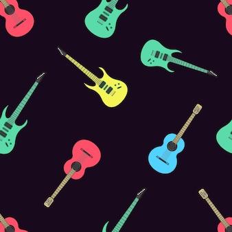 完全に編集可能なベクトルイラストシームレスパターン隔離されたギター