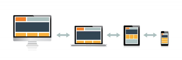 Fully responsive web design in electronic devices Premium Vector