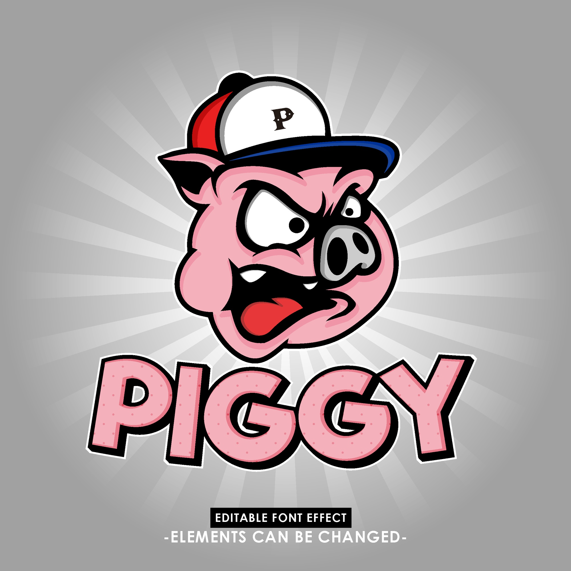 Fun and catchy pig head illustration  with fancy font effect