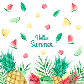 Fun and colorful watercolor summer background