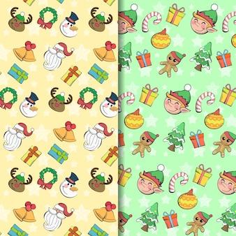 楽しくてかわいい手描きのクリスマスパターンのシームレスなコレクション