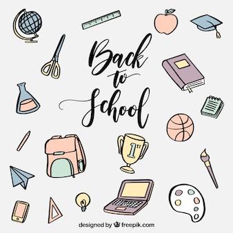 Fun and hand drawn school materials