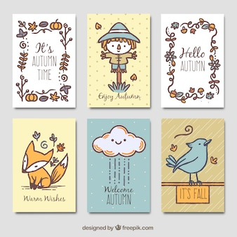 Fun autumn cards with hand drawn style