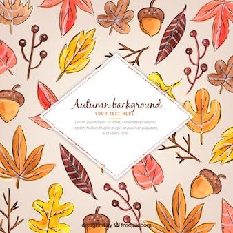 水彩スタイルの楽しい秋のコンポジション