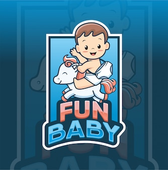 Fun baby with horse logo template