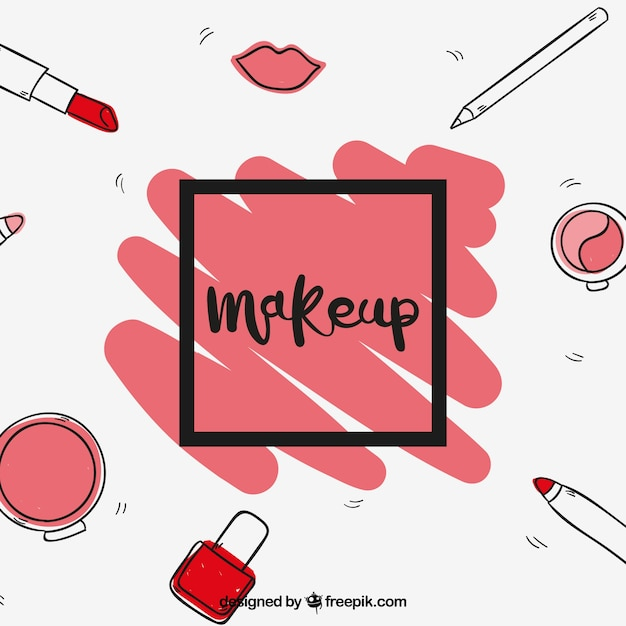Free Fun Background With Hand Drawn Make Up Svg Dxf Eps Png Cut