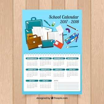 Веселый синий школьный календарь