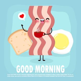 楽しい朝食、おはようおかしい食べ物、かわいいベーコンと目玉焼き、トースト、カード、バナー、webデザインイラストの背景に分離されたコーヒーカップ