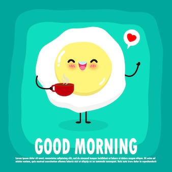 Fun breakfast, good morning funny food, cute fried egg and coffee cup isolated on background for card, , banner, web design  illustration