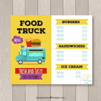 Fun burger food truck menu