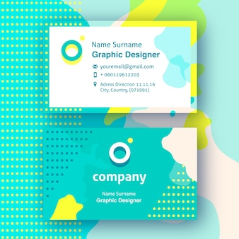 Fun business cards with yellow and green abstract shapes