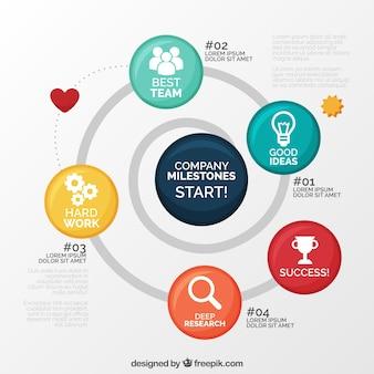 동그라미와 함께 재미있는 비즈니스 infographic 무료 벡터