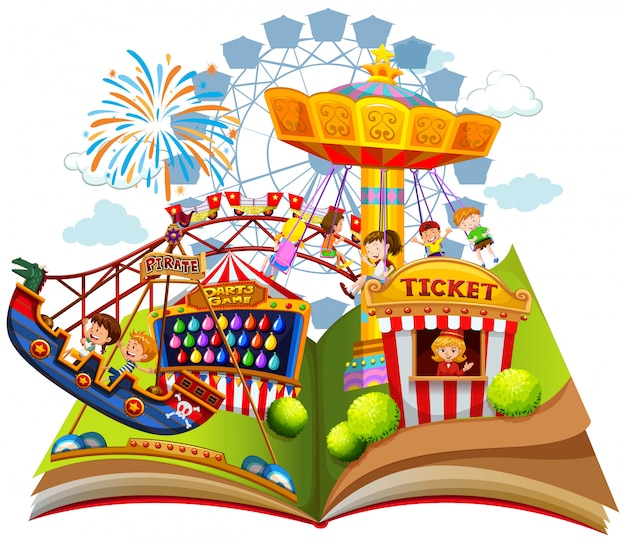 Fun carnival within pop up book