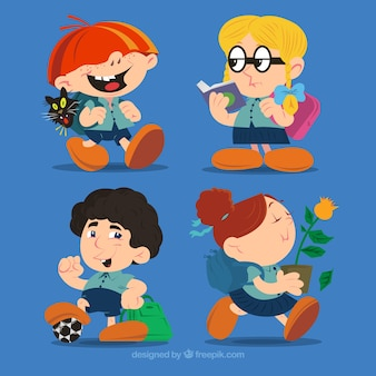 Fun cartoon characters of students