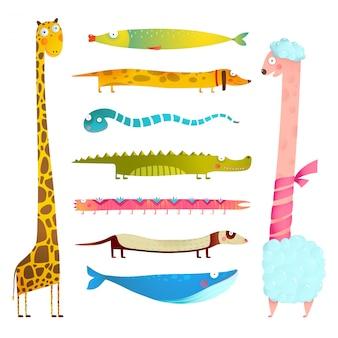 Забавная мультипликационная длинная коллекция иллюстрации животных для дизайна детей