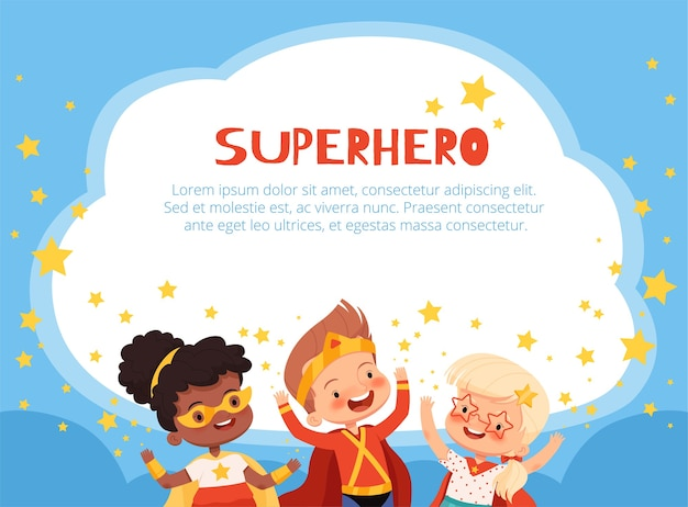 Fun characters superhero kids on a blue background with stars and place for text.
