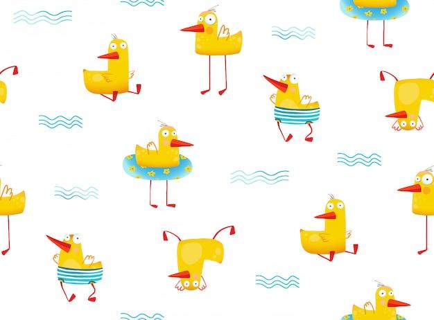 재미있는 유치 한 노란 오리 원활한 패턴 만화
