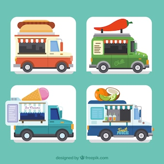 Fun collection of colorful food trucks