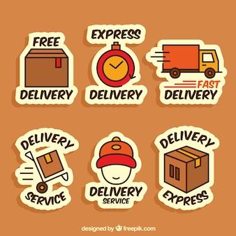 Divertente raccolta di etichette di consegna