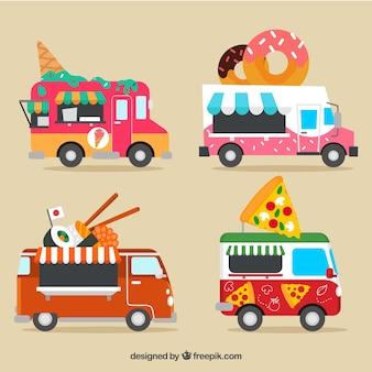 近代的な食品トラックの楽しいコレクション