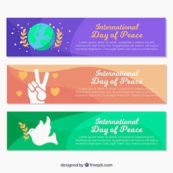 Fun and colorful collection of banners for day of peace