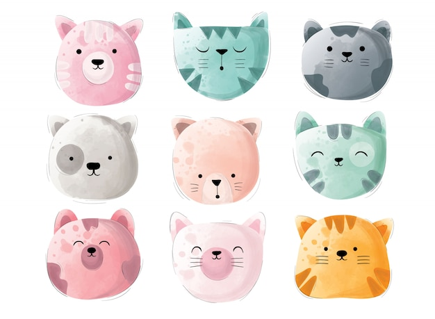 Fun colorful cute cat head