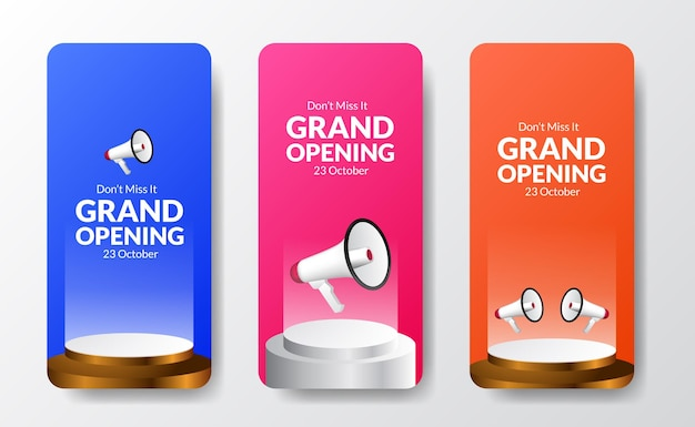 Fun colorful grand opening social media stories template with megaphone speaker and podium stage with bright background