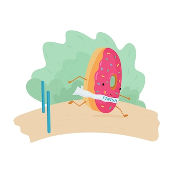 A fun colorful illustration of a donut running. donut ran to the finish.
