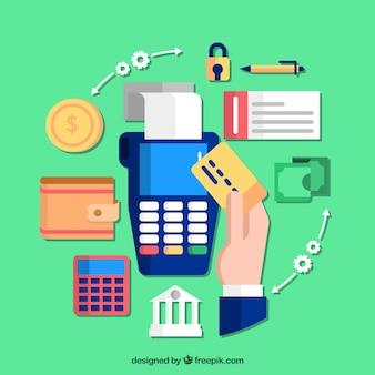 Интересная композиция с оплатой кредитной картой Бесплатные векторы