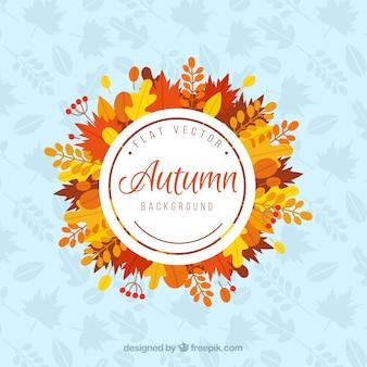 Composizione divertente con foglie di flatautumn