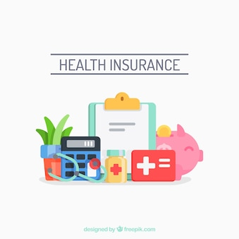 Fun composition with health elements Premium Vector
