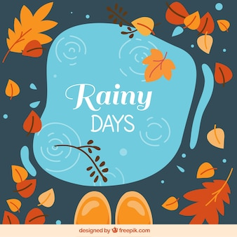 Fun composition with rain and autumnal leaves