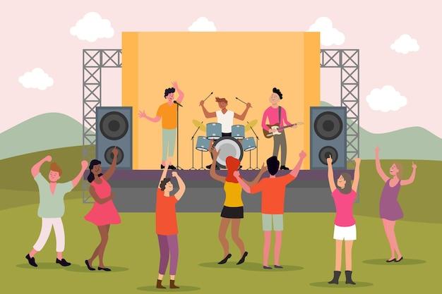 楽しいコンサートの人々の屋外